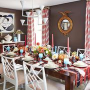 Dining room, Room, Red, Furniture, Table, Interior design, Pink, Chair, Home, Design,