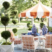 backyard, yellow, table, canopy, ceremony, wedding reception, event, party, furniture, real estate,