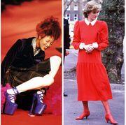 Red, Clothing, Fashion, Footwear, High heels, Dress, Leg, Fashion model, Shoe, Human leg,