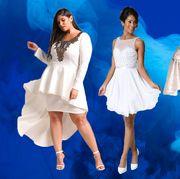 Blue, White, Clothing, Dress, Fashion, Fashion model, Fun, Performance, Event, Shoulder,