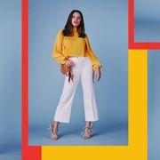 Clothing, Yellow, Fashion model, Jeans, Fashion, Orange, Denim, Trousers, Formal wear, Waist,