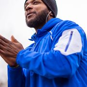 Blue, Outerwear, Hoodie, Human, Electric blue, Smile, Gesture,