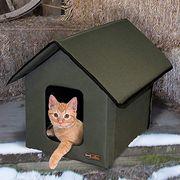 Cat, Cat furniture, Felidae, Small to medium-sized cats, Birdhouse, Winter, Bird feeder, Snow, Fawn, Wildlife,