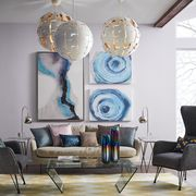 Living room, Room, Furniture, Interior design, Blue, Turquoise, Table, Floor, Lighting, Teal,