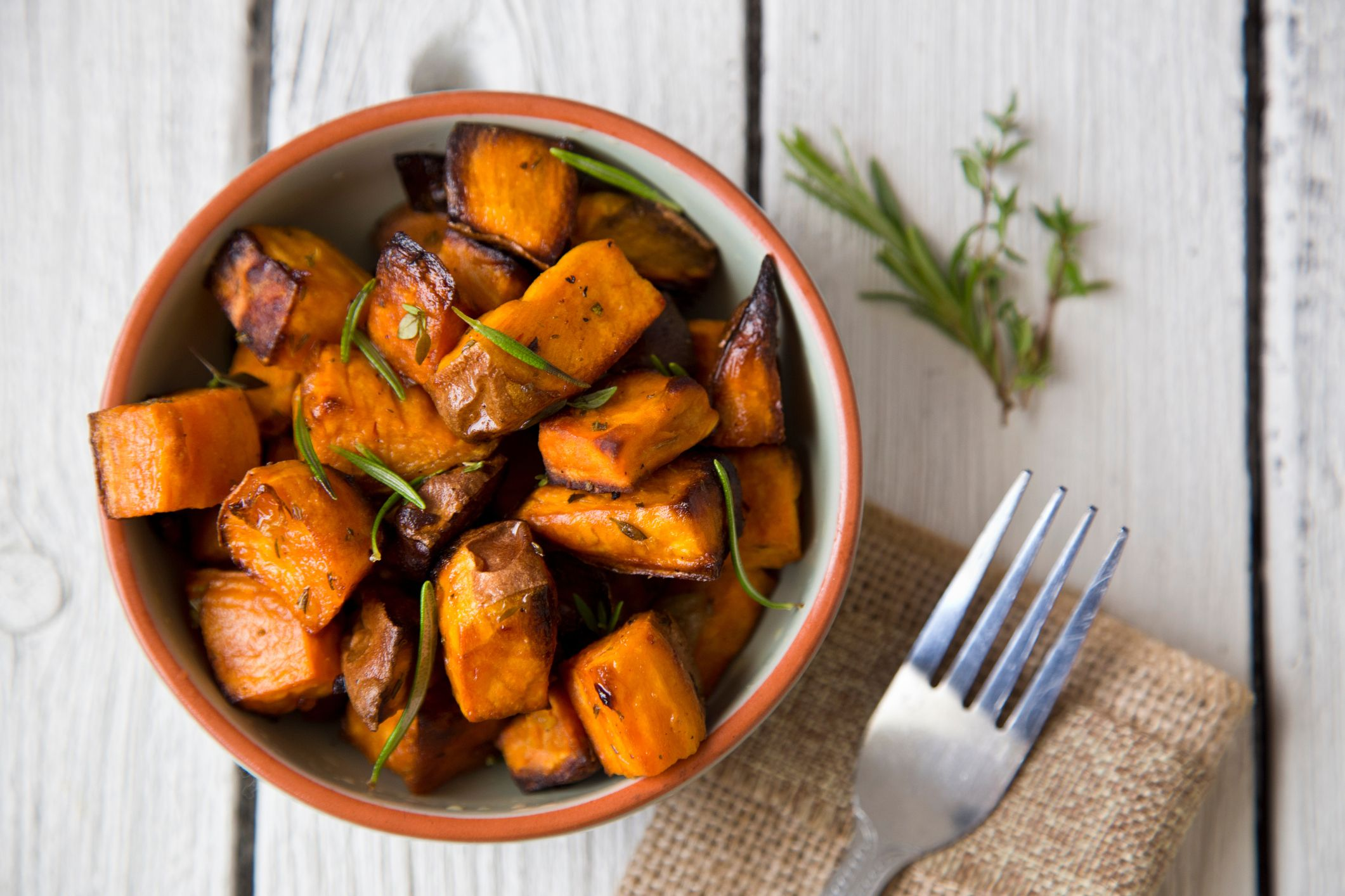Directly Above Shot Of Roasted Sweet Potatoes Served In Bowl