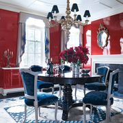 Room, Dining room, Blue, Property, Interior design, Red, Furniture, Building, Table, Home,