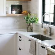 Countertop, Room, White, Kitchen, Furniture, Cabinetry, Interior design, Property, Floor, Tile,