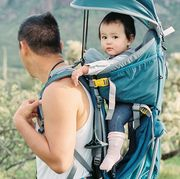 dad and baby hiking backpack