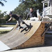 Skateboarding, Kickflip, Sport venue, Skatepark, Tree, Recreation, Boardsport, Skateboard, Leisure, Skateboarding Equipment,