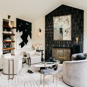 Room, Interior design, Black, Living room, Furniture, Property, Black-and-white, Wall, Building, Floor,