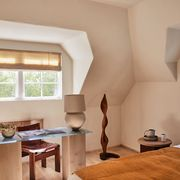 minimalist contemporary bedroom home office