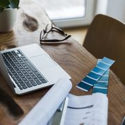 Desk, Table, Furniture, Room, Design, Interior design, Office, Office equipment, Writing, Wood,