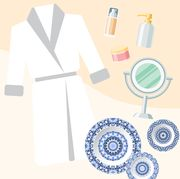 graphic of robe, plates, and skincare items