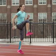 Running, Pink, Athlete, Recreation, Footwear, Shoe, Sprint, Sports, Knee, Exercise,