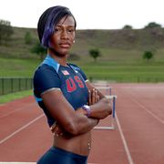 Athlete, Sports, Athletics, Recreation, Heptathlon, Electric blue, Individual sports, Muscle, Track and field athletics, Competition,