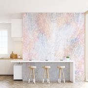 Interior design, Room, Wall, Furniture, Property, Floor, Table, Pink, Wallpaper, Material property,