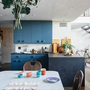 ikea kitchen with blue cabinets