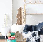 Room, Furniture, Interior design, Christmas stocking, Wall, Home, Design, Shelf, Floor, Living room,