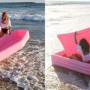 Pink, Water transportation, Inflatable, Furniture, Leisure, Fun, Recreation, Vacation, Games, Bodyboarding,