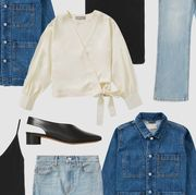 everlane shirt, shoes, dress, and jeans marked down in everlane's summer sale