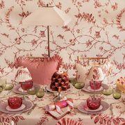 Pink, Sweetness, Decoration, Design, Tableware, Textile, Peach, Interior design, Table, Centrepiece,