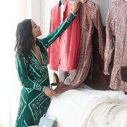 Green, Clothing, Pink, Fashion, Dress, Room, Outerwear, Textile, Formal wear, Fashion design,