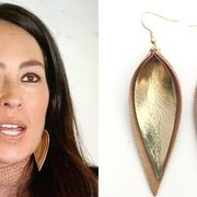 joanna gaines leather leaf earrings