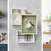 White, Shelf, Furniture, Wall, Room, Interior design, Shelving, Tile, Home, Floor,
