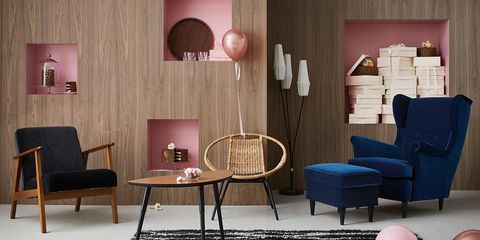 Furniture, Living room, Room, Interior design, Pink, Wall, Table, Lighting, Couch, Floor,
