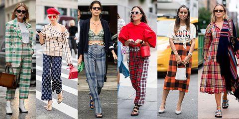 Plaid, Clothing, Tartan, Street fashion, Fashion, Pattern, Textile, Design, Crop top, Footwear,