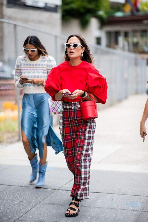Plaid, Tartan, Clothing, Street fashion, Photograph, Pattern, Red, Fashion, Textile, Design,
