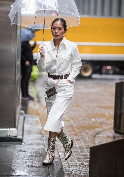 Umbrella, Street fashion, Rain, Yellow, Fashion, Human, Footwear, Fashion accessory, Photography,