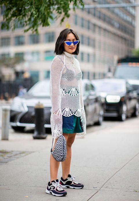 Clothing, Street fashion, White, Photograph, Fashion, Footwear, Snapshot, Eyewear, Shoulder, Turquoise,