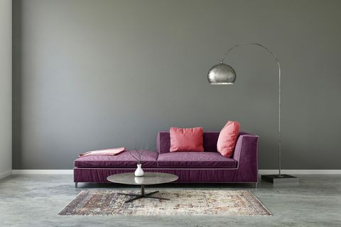Furniture, Couch, Room, Purple, Violet, Interior design, Floor, Wall, Living room, Sofa bed,