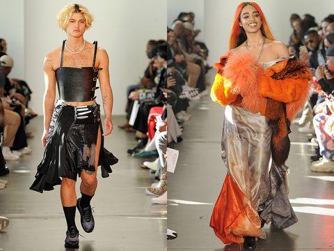 Fashion model, Fashion, Runway, Fashion show, Clothing, Orange, Fashion design, Shoulder, Event, Joint,
