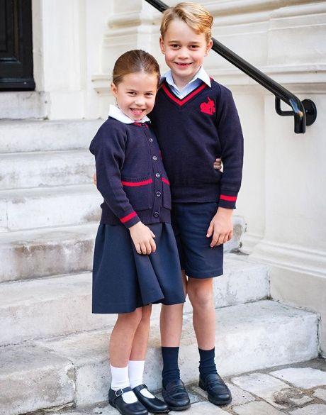 Clothing, Uniform, School uniform, Blue, Fashion, Standing, Footwear, Child, Outerwear, Child model,