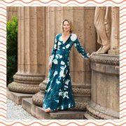 Clothing, Blue, Formal wear, Turquoise, Aqua, Dress, Teal, Pattern, Pattern, Sleeve,