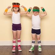 Arm, Muscle, Fun, Footwear, Costume, Child, Joint, Physical fitness, Leg, Room,
