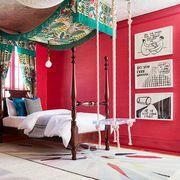 Bed, Furniture, Room, Bedroom, Red, Interior design, Canopy bed, Pink, four-poster, Decoration,