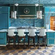 Blue, Turquoise, Room, Furniture, Aqua, Tile, Building, Interior design, Table, Turquoise,