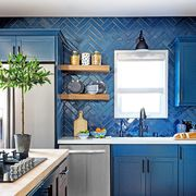 Countertop, Room, Kitchen, Cabinetry, Blue, Furniture, Interior design, Property, Floor, Wall,