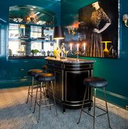home bar with glossy teal walls