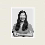 a split photo where the left side has the logo for office hours and the right side shows a black and white photo of ai jen poo smiling with her arms crossed