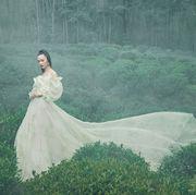 People in nature, Dress, Green, Atmospheric phenomenon, Gown, Beauty, Wedding dress, Grass, Tree, Art,