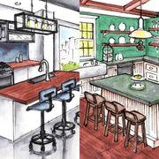 Room, Furniture, Interior design, Building, Table, Kitchen, House, Illustration, Sketch, Drawing,