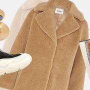 Clothing, White, Outerwear, Sleeve, Cardigan, Beige, Sweater, Overcoat, Coat, Fur,