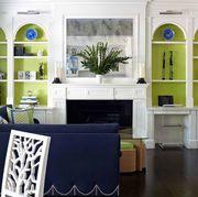 Room, Furniture, White, Blue, Black, Interior design, Living room, Property, Green, Wall,