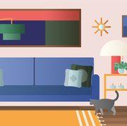 Green, Room, Orange, Yellow, Wall, Illustration, Furniture, Interior design, Living room, Rectangle,