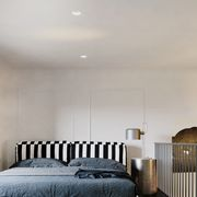 Bedroom, Bed, Furniture, Bed frame, Room, Interior design, Floor, Ceiling, Wall, Architecture,