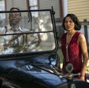 jonathan majors and jurnee smollet standing beside a car in a still for hbo's show lovecraft country